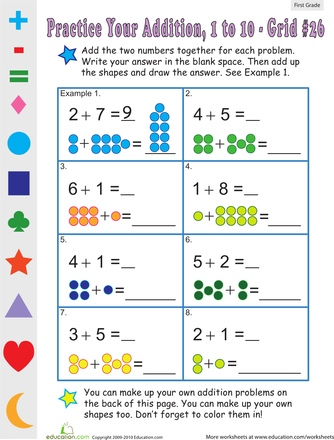 Introduction to Single Digit Addition- Kindergarten